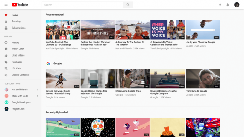 Youtube rafraîchit le Design de son Interface